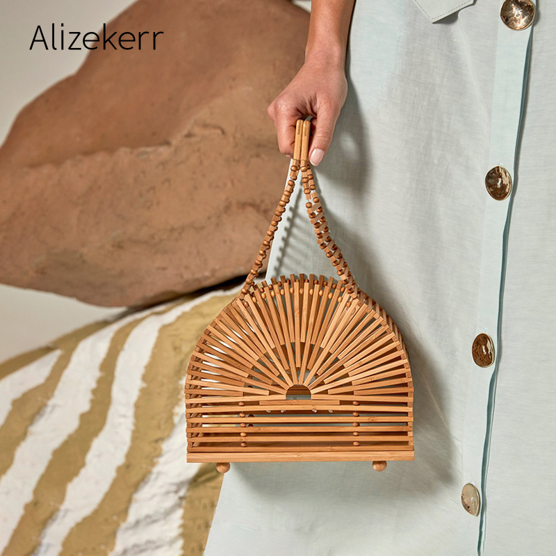 Semicircle Hollow Out Bamboo Beach Bag 2020 Summer Retro Beaded Rattan Straw Basket Bag Ladies Half Moon Round Purse Vacation