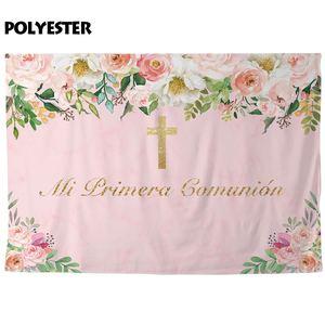 Image 3 - Allenjoy My first holy Communion photography backdrop golden cross elegant flower birthday girl background photophone photocall