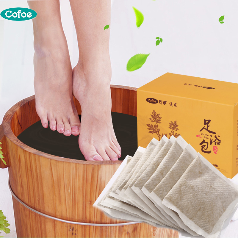 Cofoe 20pcs Foot Powder Moxa Foot Bath Powder Chinese Medicine SPA Body Detox Dispelling Cold Improve For Health Care