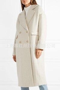 Image 4 - Beyaz Katı Uzun Yün Karışımı Bayan Ceket Vintage kadın ceketi Geniş waisted Kruvaze Kore Bayan Moda Ceket