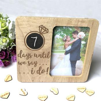 Tablica ramka na zdjęcia kolor drewna Retro ślub odliczanie ramka na zdjęcia drewniana prosta ramka na zdjęcia powiesić na ścianie tanie i dobre opinie CN (pochodzenie) Nowoczesne Nieregularne Decoration durable