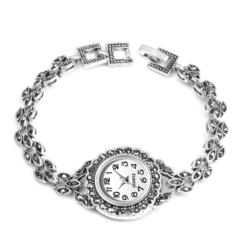 2019 New Exquisite Crystal Floral Bracelets Watch For Women Antique Silver Decorative Quartz Watch For Women Retro Look Watches