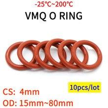 Junta de anillo de silicona roja VMQ, 4mm, OD, 15-80mm, junta tórica de silicona de grado alimenticio, herramientas vmq surtido hvac, 10 Uds.