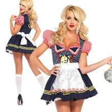 HOT Carnival Dirndl Oktoberfest Costume Traditional Plaid Crop Top Beerfest Waiter Cosplay Fancy Party Dress