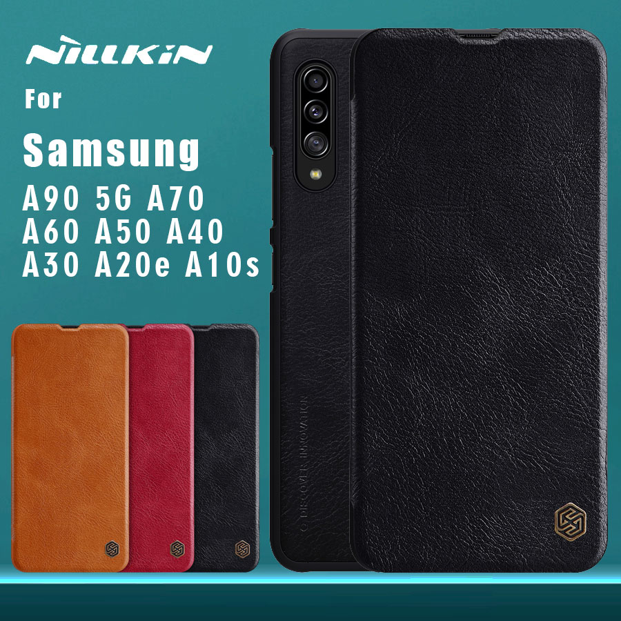 for <font><b>Samsung</b></font> Galaxy A90 5G A10s A50 A40 <font><b>A30</b></font> A20e A60 A70 <font><b>Case</b></font> NILLKIN <font><b>Flip</b></font> Leather <font><b>Case</b></font> Card Slot Back Cover Phone <font><b>Case</b></font> A90 5G image