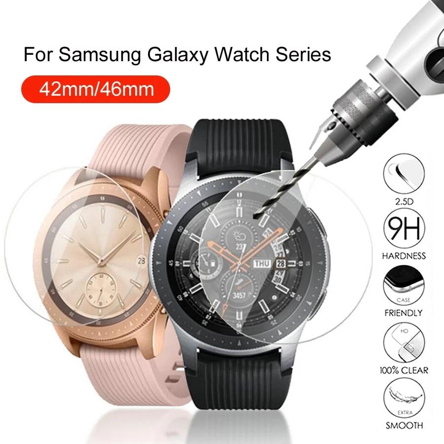Protetores de tela de vidro para samsung galaxy watch 42mm 46mm filme temperado proteção cobertura resistente a riscos 1-4 pces