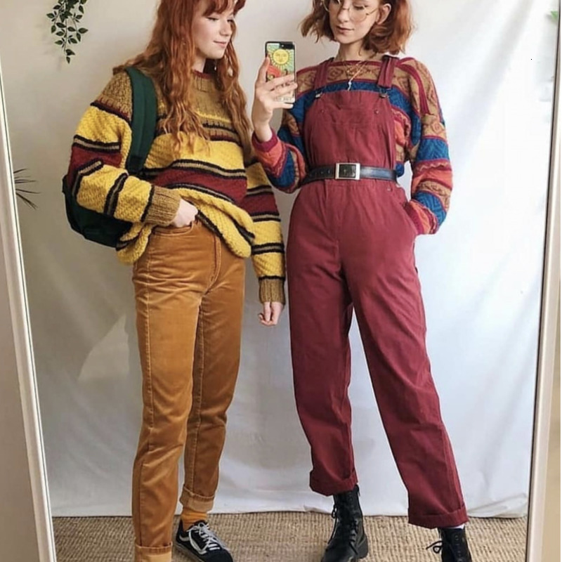 Vintage Round Neck Woman Knitting Sweater Stripe Fashion Long Sleeve Casual Female Autumn Winter Pullovers