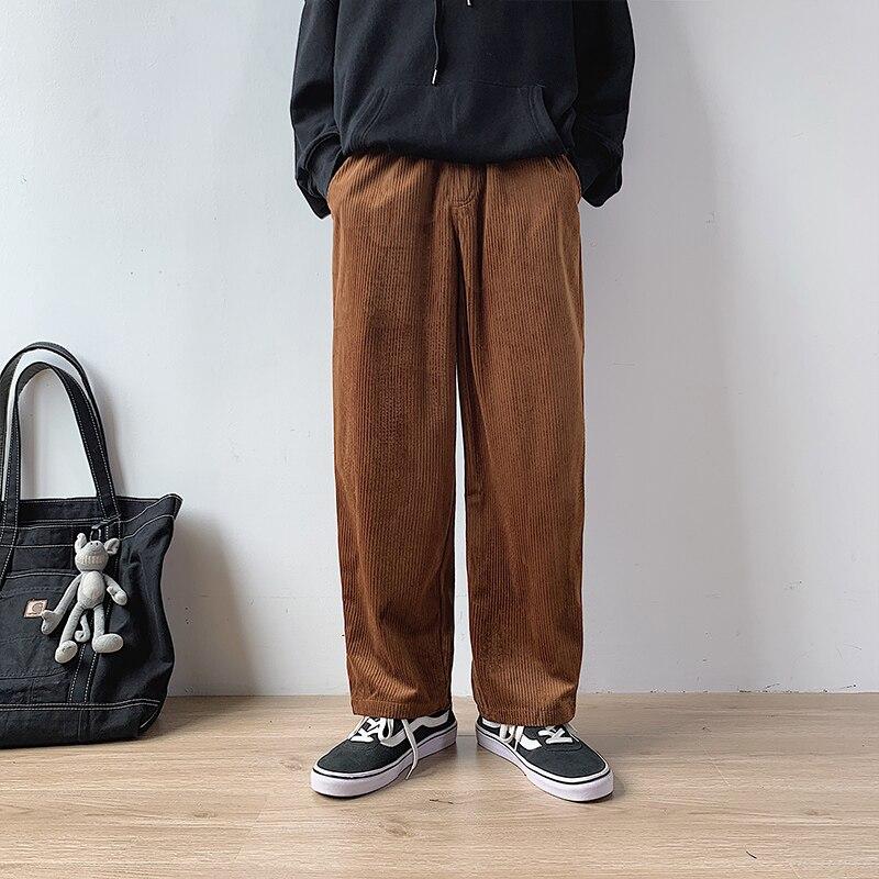 2019 Men's Black/brown Color Trousers Active Elastic Hip Hop Leisure Corduroy Fabric Haren Pants Printing Cotton Casual Pants