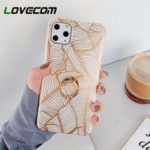 LOVECOM Plated Line Leaf Finger Ring Phone Case For
