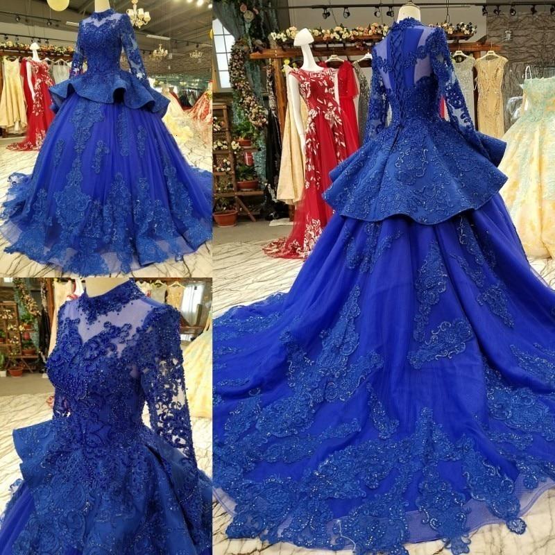 Hot9 Blue O Neck Long Sheelves Eppliqued Beading Crystal Ruffles  Luxury  Vintage  Self-cultivition Ball Gown Wedding Dress