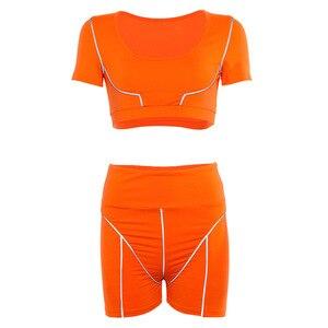 Image 5 - ארוך חולצות חותלות נשים כושר בגדי חולצות + גבוהה מותן Scrunch חותלות חדר כושר חליפות נשים כושר חותלות חותלות נשים