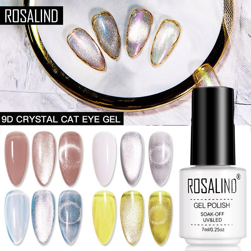 Гель ROSALIND «кошачий глаз» с магнитной палочкой, кристаллический Гель-лак для ногтей 9D для маникюра, полуперманентное средство отмачивания
