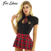 Le donne Adulti Cattivo Studenti Lingerie Sexy Costume Cosplay Uniforme da Scolaretta Sexy Costumi Maniche Corte Top Plaid Rave Vestito