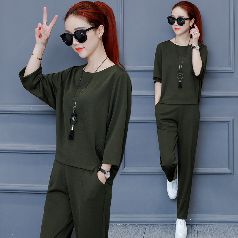 2019 Summer Korean-style Large Size Dress New Style Set Slimming Slim Fit Casual Fashion & Sports Two-Piece Set