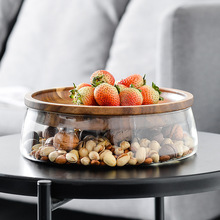 Glass Bottle Nuts And Dry Fruits Storage Box Container For Cereals Jar Double Layer Candy Jars With Wooden Lid Kitchen Supply