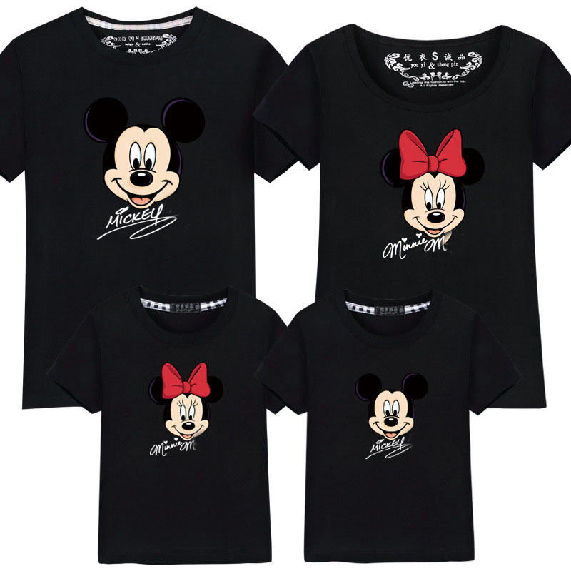 Familie kleidung mode mutter vater tochter sohn familie passende shirt minnie mickey shirts für familie sommer outfits