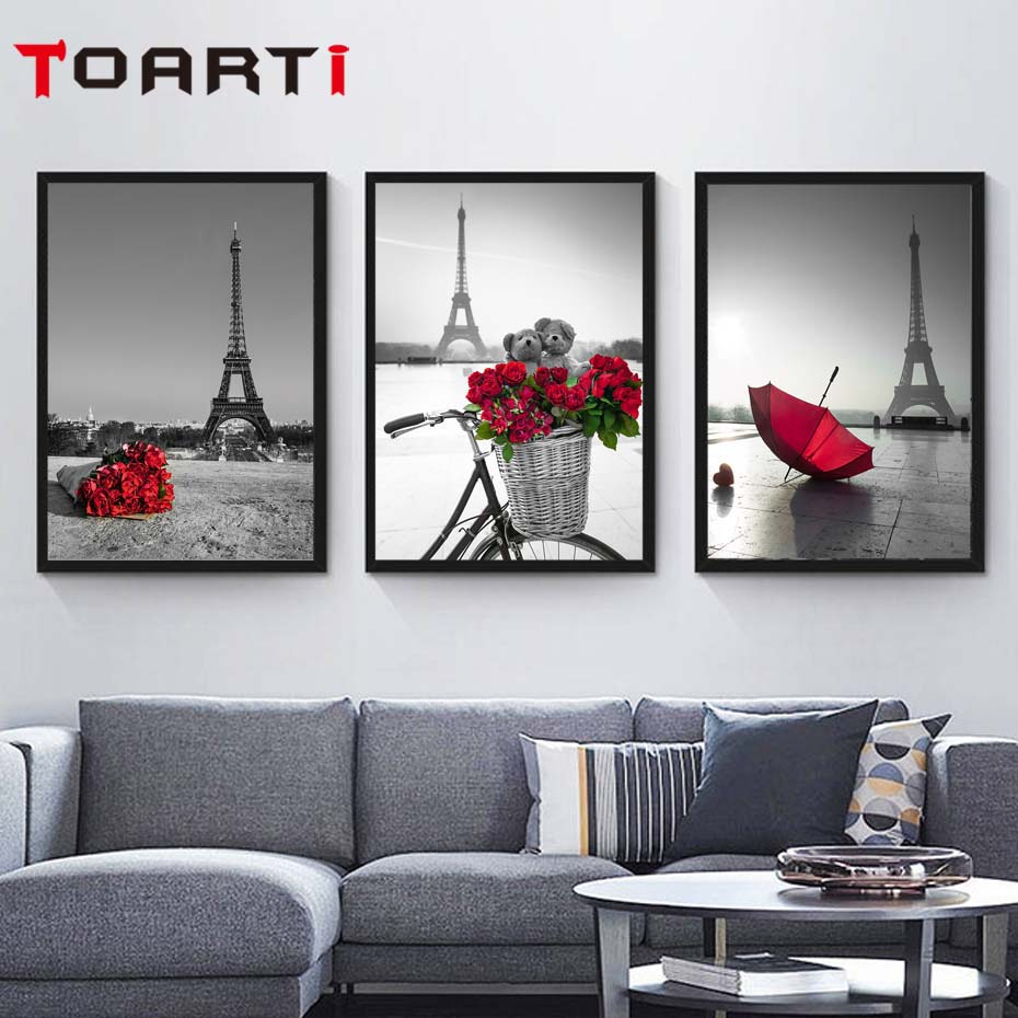 Wall Art Pictures Eiffel Tower Red Umbrella On Paris Street Modern Urban Landscape Poster Canvas Painting Living Room Decor Gift