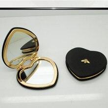Espejo compacto para maquillaje, espejo pequeño de doble cara, Plegable, portátil