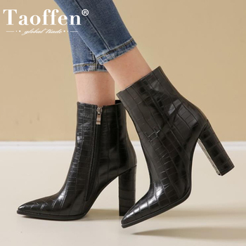 TAOFFEN Size 34-43 Women Ankle Boots Zipper Thick High Heel Winter Shoes Women Sexy Pointed Toe Office Lady Short Boot Footwear