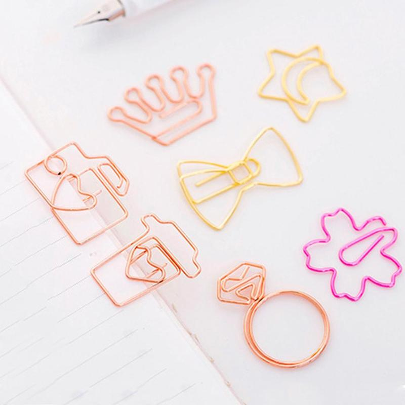 Cute Cartoon Bookmark Rose Gold Paperclip Simple Metal Supplies Accessories School Book Modeling Creative Bookmarks Student I1J7