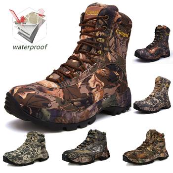 Buty górskie buty wojskowe kamuflaż outdoor buty męskie buty wodoodporne buty myśliwskie styl klasyczny tanie i dobre opinie pscownlg RUBBER Lace-up Pasuje prawda na wymiar weź swój normalny rozmiar Spring2019 Cotton Fabric Profesjonalne Dla dorosłych