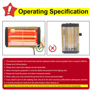 Image 5 - 1000W Car Paint Curing Drying Lamp Car Body Infrared Paint Lamp Handheld Halogen Heater Light Shortwave Infrared Lamp