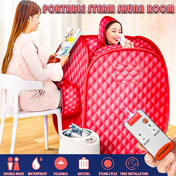 2L Steam Sauna Portable Spa Room Home Beneficial Full Body Slimming Folding Detox Therapy Steam Fold Sauna Cabin Sauna Generator portable sauna room steam sauna bath portable sauna lose weight detox machine with foot hole steam generator private home spa