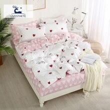 Liv-Esthete Luxury Bedding Set Love Heart Duvet Cover Double Queen King Bed Linen Bedspread Flat Sheet Home Decor Bedroom