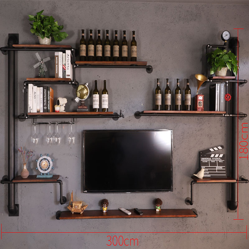 Retro Design Tv Background Wall Decoration Frame Creative Wall Shelf Customizable Bookcase On The Wall Household Wine Rack