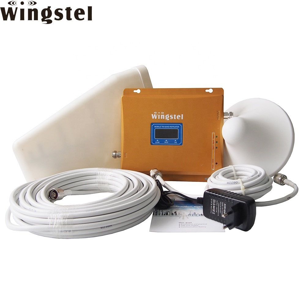Wingstel Wifi Gsm 2g Network Mobile Signal Booster 3g 4g Triband Cell Phone Signal Repeater With Antenna