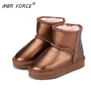 MBR FORCE Children Winter Boots Boys Girls genuine leather ankle Snow Boot Kids Warm Boots with Plush Shoes Wateproof Snow Boots new winter snow boots children girls genuine leather boots princess student warm with plush toddler shoes kids 041