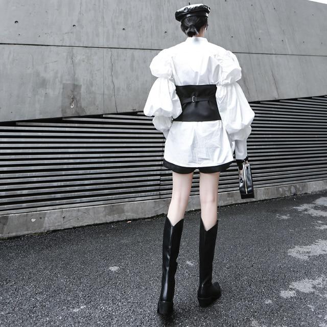 [EAM] Women Black Button Split Joint Asymmetrical Loose Fit Vest New Sleeveless   Fashion Tide Spring Autumn 2021 1K371 2