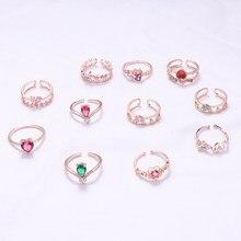 MENGJIQIAO nowy koreański słodkie serce z kwiatkiem Cubic cyrkon regulowane pierścienie dla kobiet moda kryształy krople Bague Party biżuteria