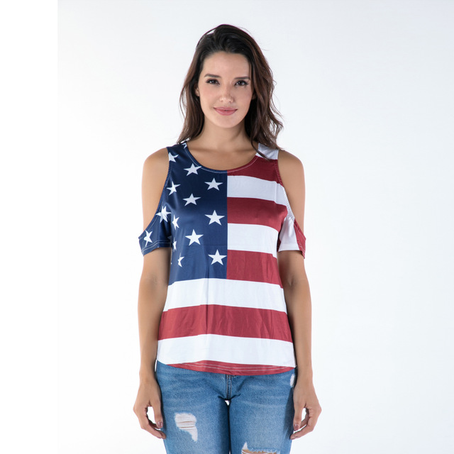 T-shirt  print off-shoulder sexy plus size women American Flag eBay wish Amazon Europe and the United States explosion models