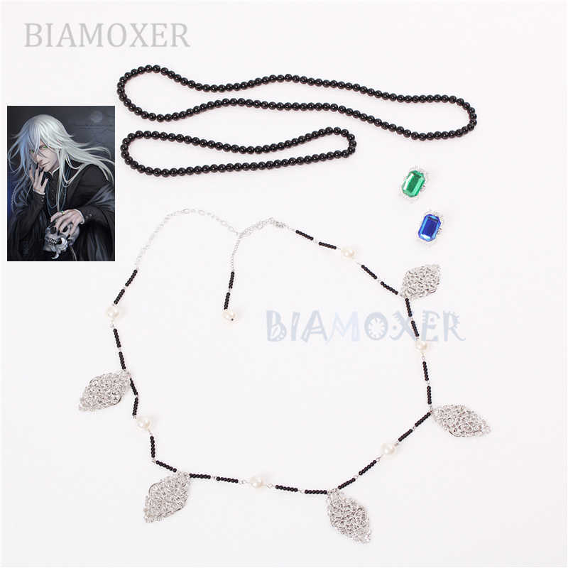 Biamoxer Undertaker Cosplay Black Butler Ketting + Ketting + Ring Set Cosplay Accessorie Prop