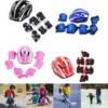 7 Set Kid Roller Skating Bike Helmet Knee Wrist Guard Elbow Pad Kit For 5-15 Children Skateboarding Racing Protective Parts