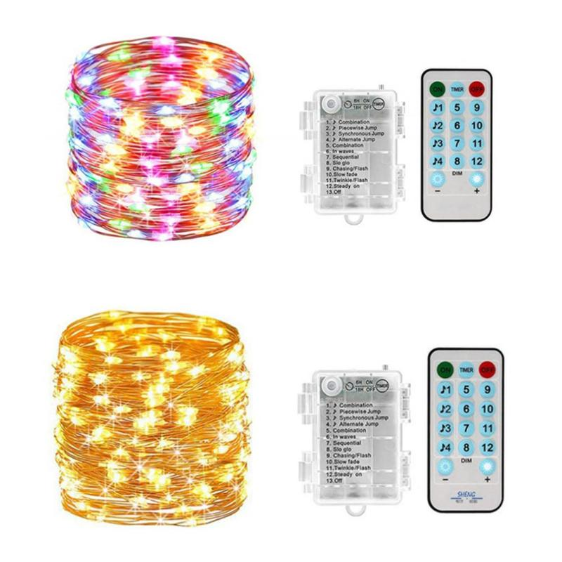 10M 100LED Copper Wire Music String Lights With Remote Control Garland Home Christmas Wedding Party Decor Powered By Battery USB