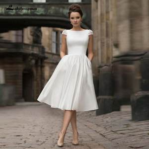 Lakshmigown Bridal-Gown Wedding-Dresses Boho Short Knee-Length with Pockets Beaded Capped-Sleeves