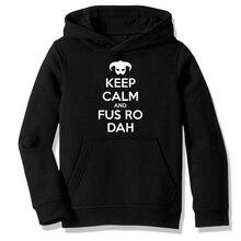 Fleece Hooded Sweatshirt Hoodies Skyrim Elder Scrolls Keep Calm and Fus Ro Dah Sci Fi Casual Clothing