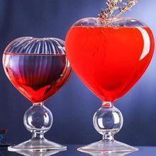 Copa transparente en forma de corazón para champán, vino, cerveza, copa de Martini inclinada, cóctel exfoliante, copa de fiesta creativa, vasos de burbujas de vidrio