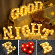 16 / 22cm diy luzes luminosas led carta luz da noite criativo letras número alfabeto bateria lâmpada romântico festa decoração