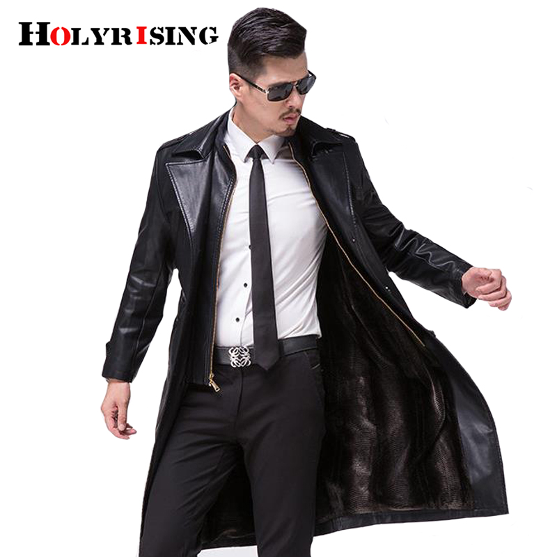 Holyrising Men Hombre Genuine Leather Long Thick Wool Motorcycle Zipper Outerwear Men Bussiness Sheepskin Luxury Jacket 18995-5