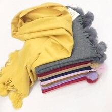 2020 nouveau réel lapin fourrure pompon écharpe hiver écharpes pour les femmes de haute qualité cachemire écharpe couleur unie femme écharpe châles enveloppement