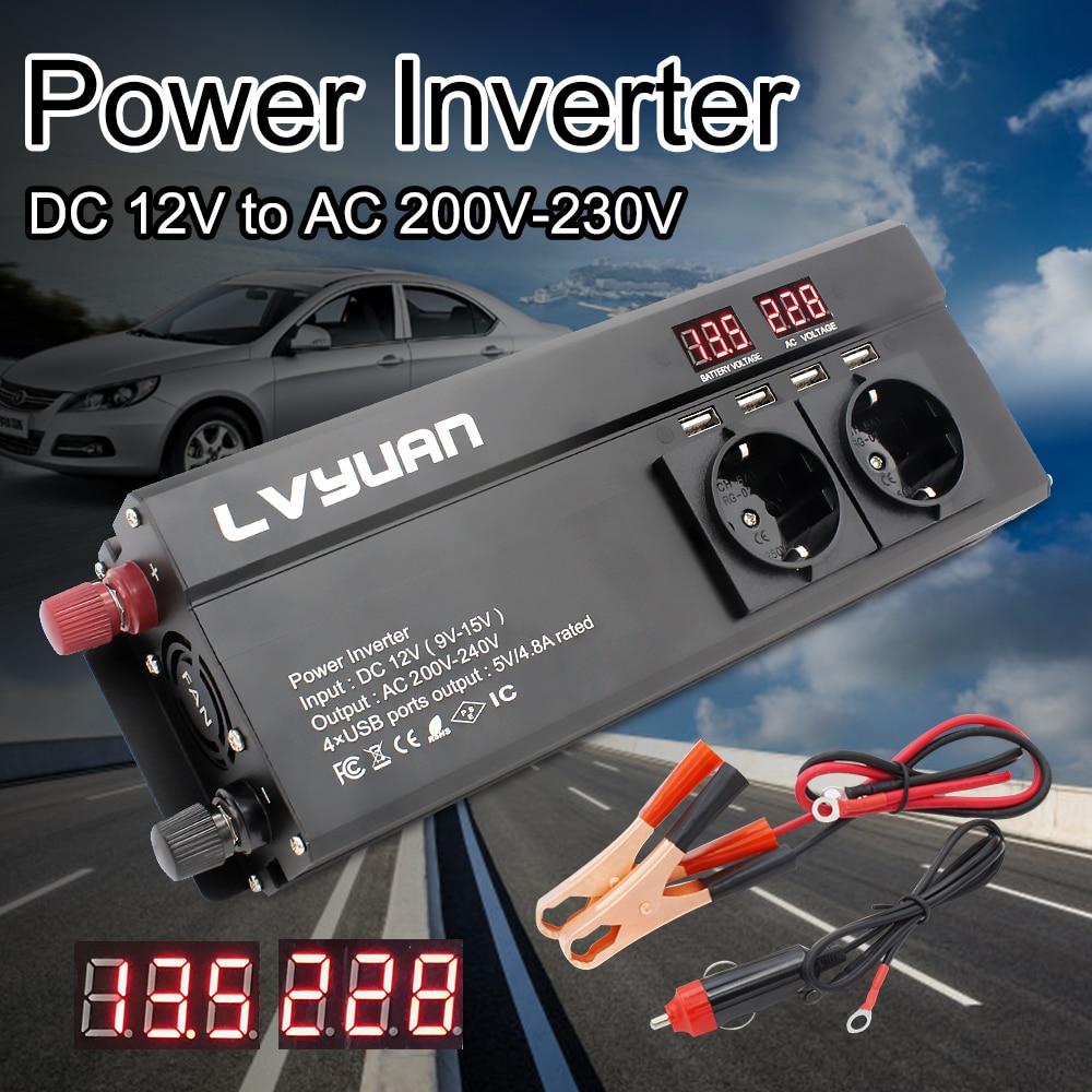 Inversor 12 V 220 V 6000W Omvormer Eu Plug 3AC Outlets 4 Usb Uitje Auto Omvormer Converter Inversor solar Senoidal Pura