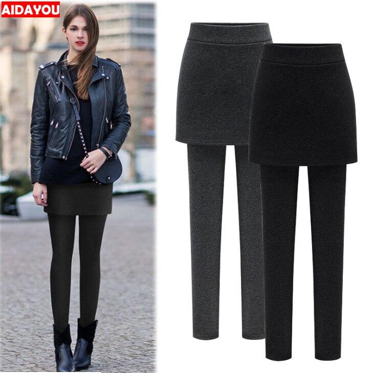 Skirt Leggings Women Fleece Warm Winter Thickening Plus Size 4XL 5XL 6XL Big Size Ladies Bodycon Skirts Ouc058