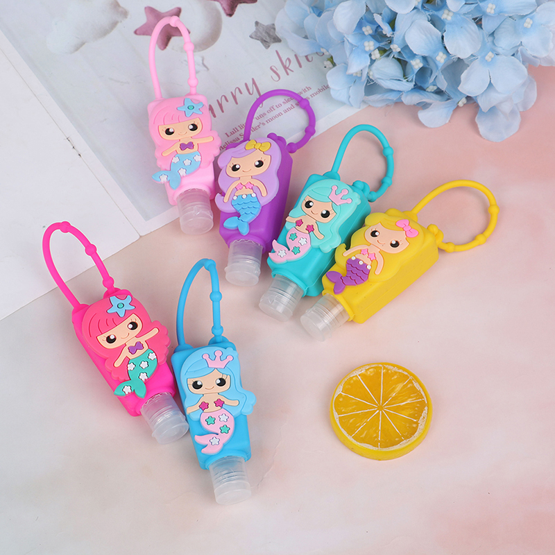 Mermaid Silicone Bath Baby Shower Hand Sanitizer Bottle Antibacterial Holder Mermaid Party Birthday Party Decorations Favors