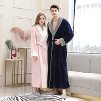 Women Lace up Thick Sleepnight Robe Sexy V neck Flannel Couple Pocket Pocket Long Nightgown Robes