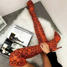 Snake Skin High Heel Stiletto Boots Over The Knee Thigh High Winter Women Custom Made Shoes Side Zipper Pointy Toe Leather Boots leather thigh high boots for sale black over the knee boots pointed toe boots high heel stiletto shoeswinter shoes for women