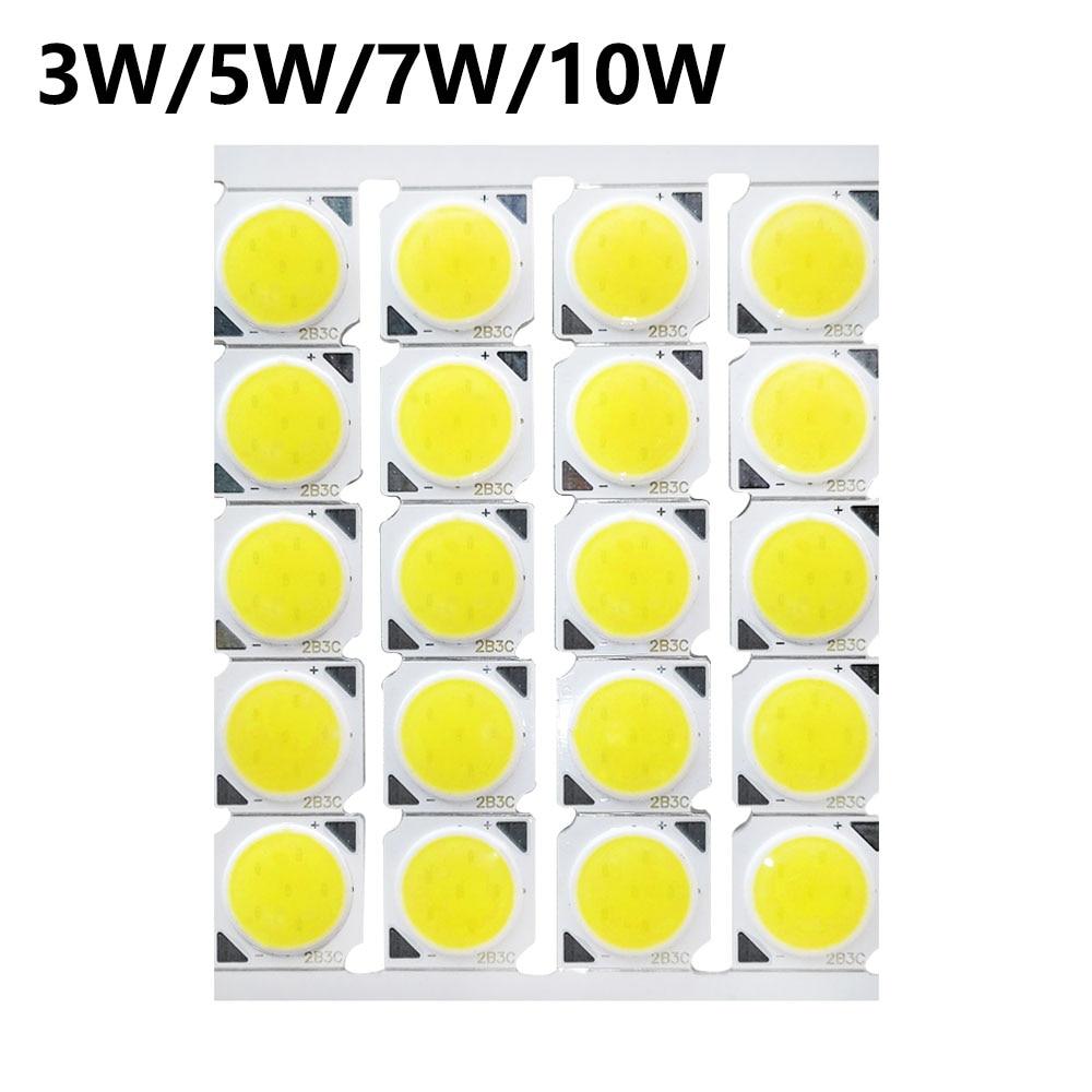 20pcs A Lot 3w 5w 7w 10w LED COB 13*13mm 240-260mA LED Light Source Bulb On Aluminum Board LED Chip Light Lamp For LED SpotLight