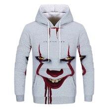 Hot Sale Men's Hooded Print 3D Casual Hoodie Clown Men's Fall / Winter Hoodie hooded 3d fireworks print flocking trippy hoodie